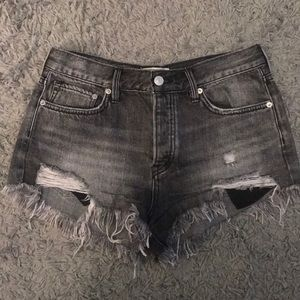 Free people black jeans shorts